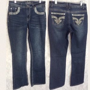 REVOLT Distressed Bling Boot Cut Jeans Size 10